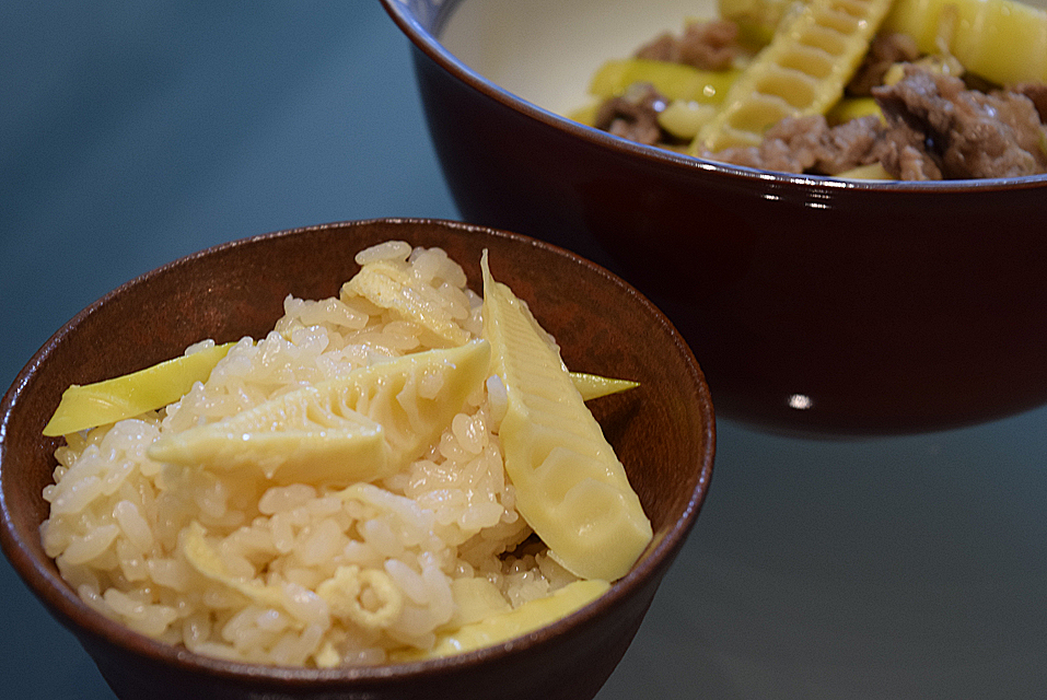真竹の料理 筍ご飯と牛肉炒め